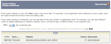 Web Service Settings Screenshot